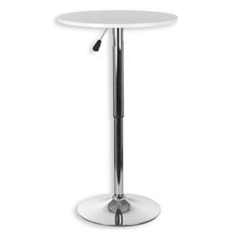 IDIMEX Bartisch Stehtisch Bistrotisch Beistelltisch Loungetisch Vista, höhenverstellbar, weiß - 1