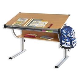 IDIMEX Kinderschreibtisch Christina, höhenverstellbar und neigungsverstellbar, Buche Dekor, Schülerschreibtisch Jugendschreibtisch Schreibtisch für Kinder - 1