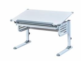 Inter Link Schreibtisch Schülerschreibtisch ergonomisch mit Schublade aus Metall und MDF in Weiss und Grau, 122 x 80 x 13,5 cm - 1