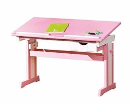 Inter Link Schülerschreibtisch Schreibtisch Arbeitstisch Kinderschreibtisch Massivholz MDF Rosa und weiss lackiert - 1