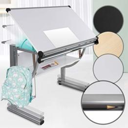 Kinder- und Jugendschreibtisch - neigbar, stufenlos höhenverstellbar, inklusive Taschenhalter, Stiftablage und Lineal - Kinderschreibtisch Schülerschreibtisch Schreibtisch Zeichentisch (Weiß) - 1