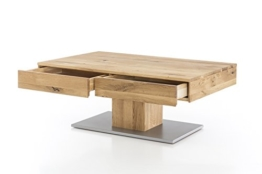 Massivholz Couchtisch rechteckig aus Wildeiche, geölter Wohnzimmer-Tisch, Beistelltisch inkl. Schublade, Tisch 110 x 70 cm - 1