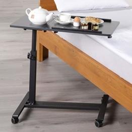 maxVitalis mobiler Betttisch auf Rollen, Beistelltisch höhenverstellbar/breitenverstellbar, Tischplatte neigbar/klappbar, Bett-Beistelltisch für Krankenbett, Pflegebett, Laptoptisch (Schwarz) - 1