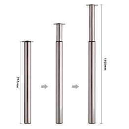 MultiWare Ø60 mm Tischbein Höhenverstellbar Tischfuß Satin Nickel Verstellbar Teleskopfuß Metall Schreibtischbein Tragkraft 50 kg - 1