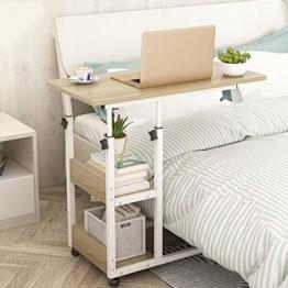 Novhome Beistelltisch mit Rollen Sofatisch Höhenverstellbar Kaffeetisch Wohnzimmertisch Metallgestell Mobiler Schreibtisch mit Lagerregalen für Laptop Zuhause - 1
