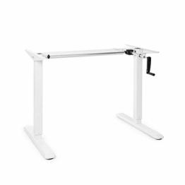 OneConcept Multidesk höhenverstellbarer Schreibtisch, Sitz- & Stehschreibtisch, Tischgestell, manuelle Steuerung: Faltkurbel, höhenverstellbar: 73-123 cm, breitenverstellbar: 100-160 cm, weiß - 1
