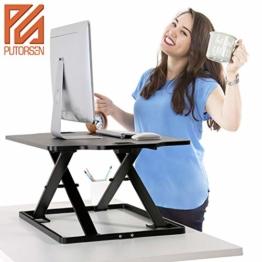 PUTORSEN® Höhenverstellbar Sitz-Steh-Schreibtisch Computertisch - Schreibtischaufsatz Steharbeitsplatz Standtisch - Tabletop Stehpult Konverter für Ergonomic Comfort (32'' - Schwarz) - 1