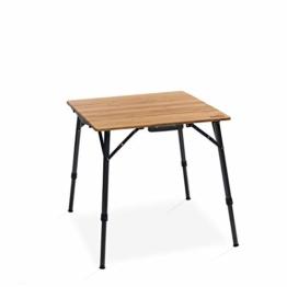 Qeedo Kimmy S, Campingtisch mit Bambus-Tischplatte, 70 x 70 cm, Höhenverstellbar - 1