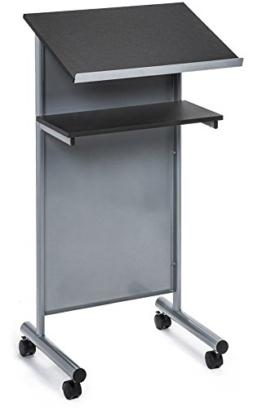 Rädern Rednerpult mit Ablage - silber/schwarz - Compact stehend Schreibtisch für Lesung - Laptop-Ständer / (MEHRWEG) - 1