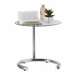 Relaxdays, Silber Kaffeetisch höhenverstellbar bis 70 cm, runder Wohnzimmertisch, verchromter Stahl, Glasplatte 46 cm Ø, Standard - 1