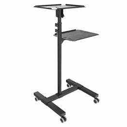 RICOO CZ0800, Beamer-Ständer mit Rollen, Mobil, Rollbar, Neigbar, Projektor-Ständer, Roll-Wagen, Stand-Fuß, Laptop-Tisch, mit Regal, Schwarz - 1