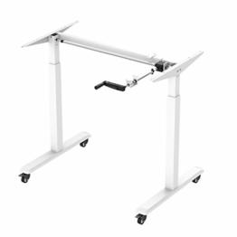 SGSP E002B Höhenverstellbarer Schreibtisch mit Rollen, Kurbelverstellbares Tischgestell für alle Tischplatten (Weiß, Basic) - 1