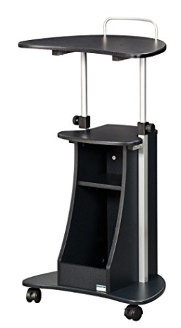 SixBros. rollbarer Laptoptisch, Projektionstisch mit 4 Leichtlauf Schwenkrollen, Stehtisch für Beamer, höhenverstellbar, 55 x 45 cm LT-002/54 - 1