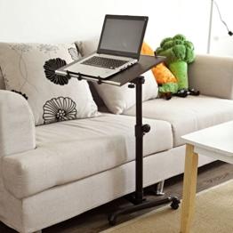 SoBuy FBT07N-BR Pflegetisch Notebooktisch mit Stopper Betttisch Laptoptisch Beistelltisch Sofatisch mit Rollen höhenverstellbar braun - 1