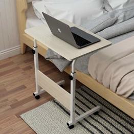 soges Laptoptisch Beistelltisch höhenverstellbarer Tisch mit Rollen, 60x40cm PC Tisch Notebook Sofatisch Laptopständer Notebookständer Pflegetisch für Bett und Sofa, Weiß 05#1-60MP - 1
