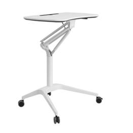 SONGMICS höhenverstellbares Stehpult, Laptoptisch, mobil mit Rollen, auch als Sitzpult geeignet, Weiß LAD02WT - 1