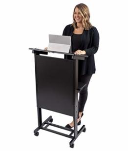 Stand Up Desk Store Mobiles höhenverstellbares Rednerpult, Schwerlast-Stahlrahmen (Schwarzer Rahmen/Schwarze Regale) - 1