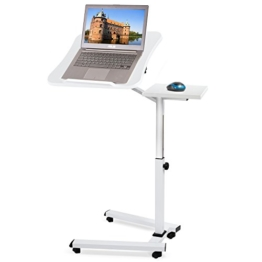 Tatkraft Like | 13643 | Laptoptisch Weiss, Laptopständer Mit Mausablage | MDF Holz, Stahl | Höhenverstellbar, Drehbar | Große Platte 40x45CM - 1