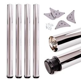 Tischbeine, höhenverstellbar | Sossai® Premium TBCH | Design: Chrom | 4 Stück | Montagezubehör inklusive | Höhe: 71 cm (710 mm), einstellbar +2cm - 1