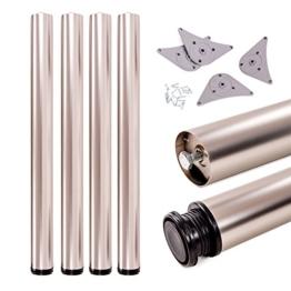 Tischbeine, höhenverstellbar | Sossai® Premium TBS | Design: Edelstahl | 4 Stück | Montagezubehör inklusive | Höhe: 71 cm (710 mm), einstellbar +2cm - 1