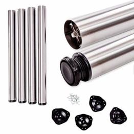 Tischbeine, höhenverstellbar | SOSSAI® Standard STBGS | Design: Edelstahl-gebürstet | Set: 4 Stück | Montagezubehör inklusive | Höhe: 71 cm (710 mm), einstellbar +2cm - 1