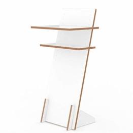 Tojo Pult | Stehpult höhenverstellbar | Auch als Sitzpult geeignet | 120 cm x 50 cm (H x B) | Farbe Weiß | Schreibpult mit verstellbaren Fächern | Holzpult zu Lesen und Schreiben | Design Pult - 1