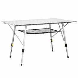 Uquip Variety L Aluminium Campingtisch - Stufenlos höhenverstellbar (120x70 cm) - 1