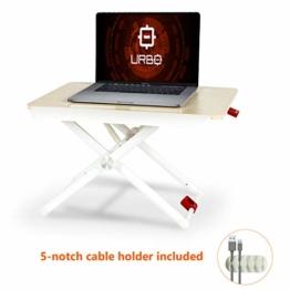 Urbo ergonomischer Schreibtischaufsatz Höhenverstellbar, Sitz Steh Tisch mit verstellbaren Beinen & Handablage für eine gesunde Körperhaltung zwischen Sitzen und Stehen im Büro & Zuhause - 1